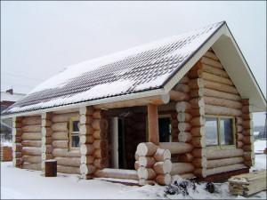 Зимний сруб для бани